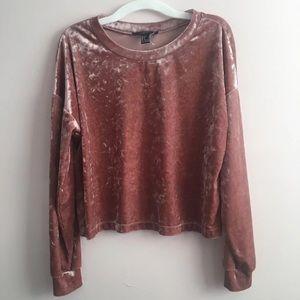 Forever 21 Pink Velvet Sweater Top Small